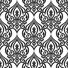 Seamless damask pattern for background or wallpaper design. Damask wallpaper. Seamless oriental pattern
