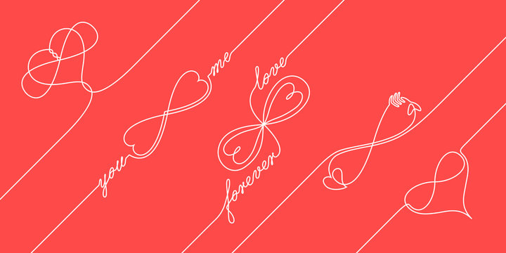 Continuous line drawing endless love concepts, one line infinite love symbol, creative synthesis of infinity sign and heart shape in a line art style, forever lasting love icons