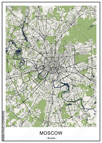 map of the city of Moscow, Russia\