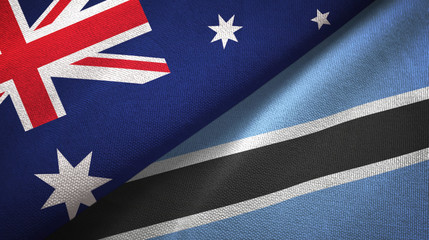 Australia and Botswana two flags textile cloth, fabric texture