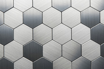 Abstract silver metal background. Geometric hexagons.Mosaic.