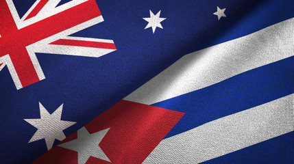 Australia and Cuba two flags textile cloth, fabric texture