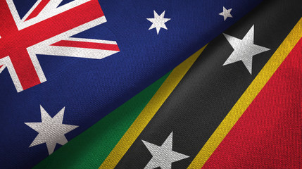 Australia and Saint Kitts and Nevis two flags textile cloth, fabric texture