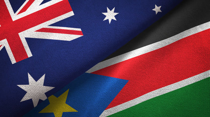 Australia and South Sudan two flags textile cloth, fabric texture