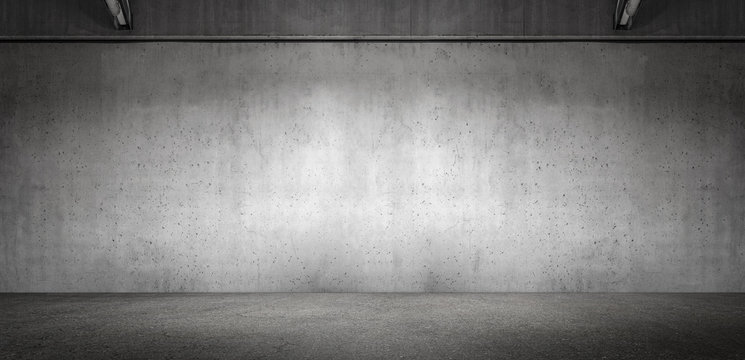 Wide Modern Subtle Exposed Concrete Wall Panoramic Garage Room Background