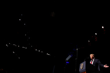 U.S. President Donald Trump delivers remarks at the National Rifle Association (NRA) Leadership Forum at the Georgia World Congress Center in Atlanta