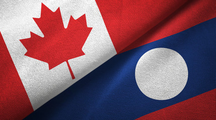Canada and Laos two flags textile cloth.