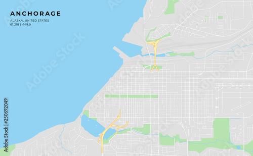Printable street map of Anchorage, Alaska\