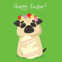 Vector card with cute puppy dog with egg and hand drawn text - Happy Easter in the flat style