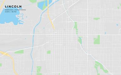 Printable street map of Lincoln, Nebraska