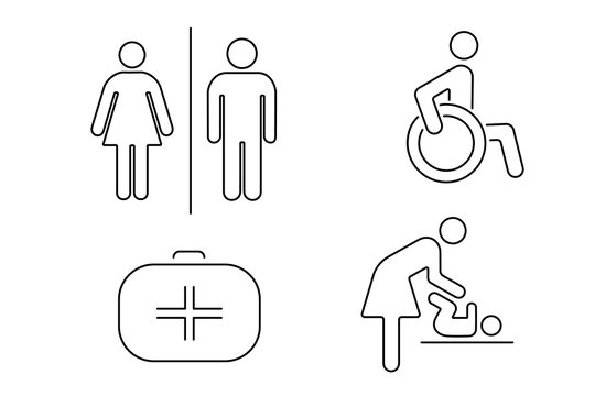Set of icons for public toilet. Linear vector