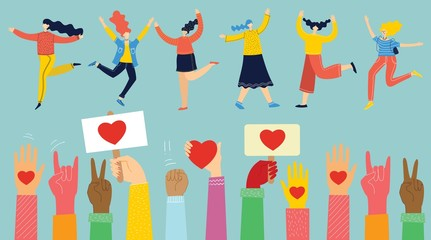 Share your Love. Hands with hearts, phone and banner with hearts and happy dancing girls as love massages. Vector illustration for Valentine's day in the modern flat style