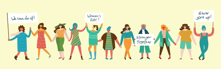Colorful vector illustrations concept of Happy Woman's internarional day . Happy female friends, union of feminists, sisterhood holding the placard in flat design