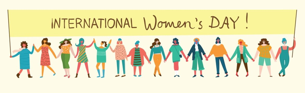 Colorful vector illustration concept of Happy Woman's internarional day . Happy female friends, union of feminists, sisterhood holding the placard in flat design