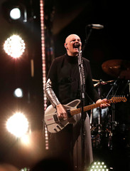 "Lead singer Corgan of The Smashing Pumpkins performs during their ""Shiny And Oh So Bright"" tour at The Forum in Inglewood"