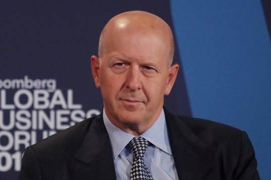 David Solomon, president and chief operating officer of Goldman Sachs, listens at the Bloomberg Global Business forum in New York