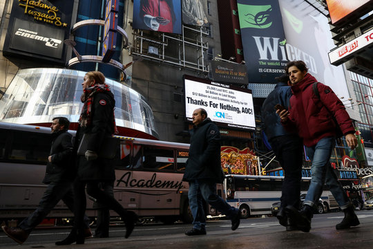Times Square billboard displays statement about U.S. Rep. Ocasio-Cortez and Amazon's pullout in New York City