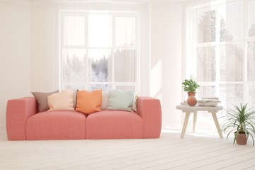 White stylish minimalist room with coral sofa and winter landscape in window. Scandinavian interior design. 3D illustration