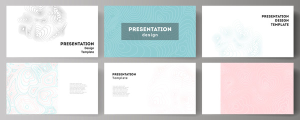 The minimalistic abstract vector illustration of the editable layout of the presentation slides design business templates. Topographic contour map, abstract monochrome background. Wall mural