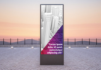 Advertising Kiosk at Sunset Mockup