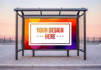 Bus Stop Billboard at Sunset Mockup