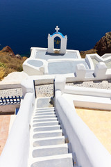 greek church bells in santorini greece