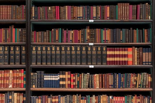 Antique Books on Old Wooden Shelves