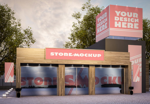 Store Signage and Outdoor Advertising Mockup