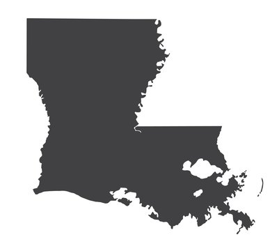 Vector Louisiana Map silhouette. Isolated vector Illustration. Black on White background.