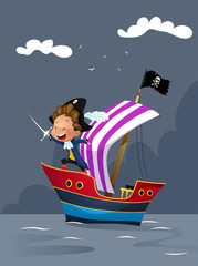Pirates on ship in the sea illustration