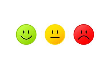 3 Smileys Grün Gelb Rot