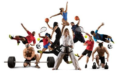 Huge multi sports collage taekwondo, tennis, soccer, basketball, etc