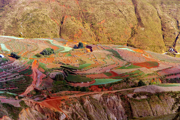 Kunming Dongchuan colored terraces landscape, attracting many domestic and foreign tourists every year to go travel in China. Yunnan Province,China