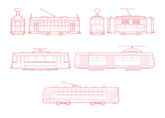 set vector line art illustrations of Tram Train. isolated white background. vector illustration design for t-shirt graphics, postcards, book, print and other uses
