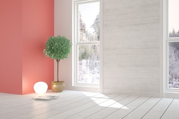 White stylish empty room with winter landscape in window. Scandinavian interior design. 3D illustration