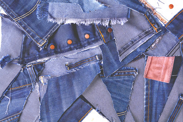 texture from scraps of denim with the toning