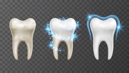 Vector illustration of teeth whitening process - cleaning and protection from stains and bacteria Fototapete