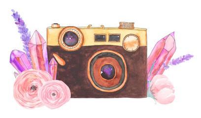 Watercolor camera flower 29