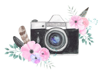 Watercolor camera flower 23