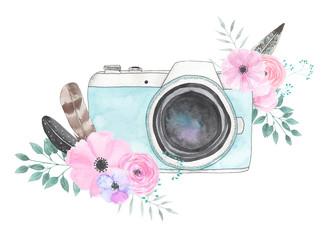 Watercolor camera flower 24