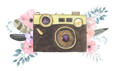 Watercolor camera flower 39
