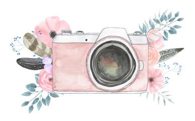 Watercolor camera flower 40