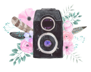 Watercolor camera flower 43