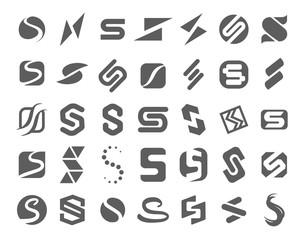 Vector illustration concept of s symbol logo. Black on white background