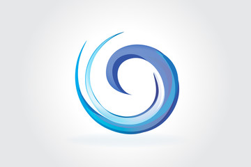 Logo blue spiral waves
