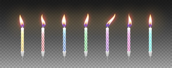 Set of colorful birthday cake candles with burning flames. Vector