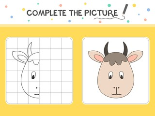 Complete the picture of a goat. Copy the picture. Coloring book. Educational game for children. Cartoon vector illustration.