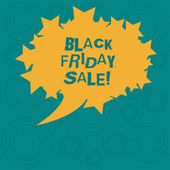Conceptual hand writing showing Black Friday Sale. Business photo showcasing day full of special shopping deals and heavy discounts Oval Color Speech Bubble with Stars as Outline Text Space
