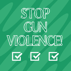 Handwriting text Stop Gun Violence. Concept meaning danger made committed with use of gun firearm or small arm Geometric Blank Color Shape Oblong in Seamless Diagonal Pattern photo