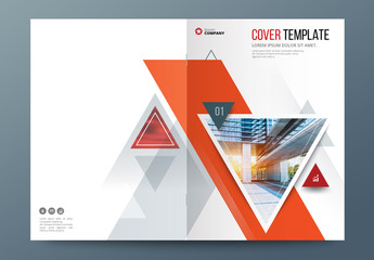 Orange Accent Business Report Cover Layout with Triangles